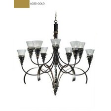 <strong>Zaneen Lighting</strong> Siberia Ten Light Chandelier in Aged Gold