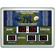 MLB Scoreboard Thermometer Wall Clock