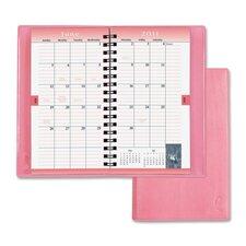 """Planner,Wirebound,2PPM,3 -1/2""""x6-1/2"""",Vinyl Cover/Pink, 2012"""