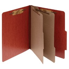 Presstex 20-Point Classification Folders, Letter, 6-Section, Red, 10/Box