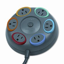 Kensington Smartsockets Color-Coded Tbltop Surge Protector