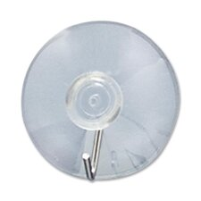 Suction Cup w/Hook, Clear Plastic, 2 Cups/Card