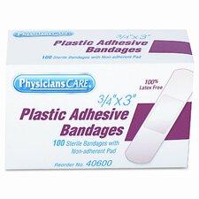 Plastic Adhesive Bandages, 3/4 x 3, 100 per Box