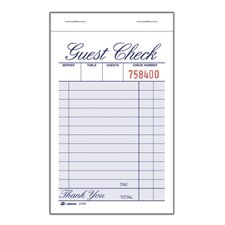 <strong>Adams Business Forms</strong> 1 Part Guest Check Pad (Set of 48)