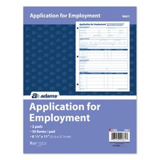 3 Hole Punched Application For Employment (Set of 36)
