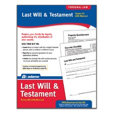 Last Will and Testament Forms and Instructions Kit (Set of 96)