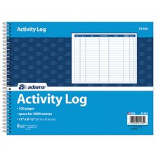 <strong>Adams Business Forms</strong> Spiral Bound Activity Log (Set of 10)