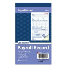 "4.19"" x 7.19"" 2 Part Employee Payroll Record Book (Set of 12)"