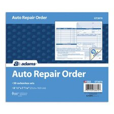 3 Part Carbonless Auto Repair Order Form (Set of 250)