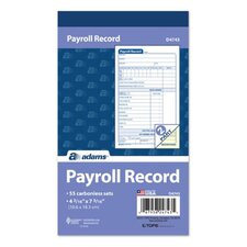 "4.19"" x 7.19"" 2 Part Employee Payroll Record Book (Set of 25)"