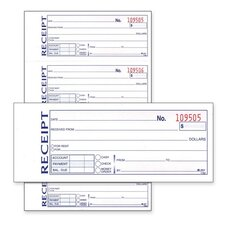 "Money/Rent Receipt Book, Carbonless, 2-Part, 7-5/8""x11"", White"