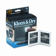 Read Right Kleen & Dry Screen Cleaner Wet Wipes, Cloth, 5 X 5, 40/Box