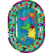 Educational Hands Around the World Kids Rug