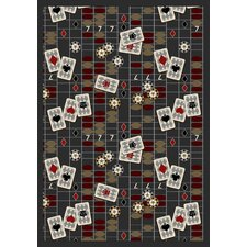 <strong>Joy Carpets</strong> Gaming and Entertainment Feeling Lucky Charcoal Novelty Rug