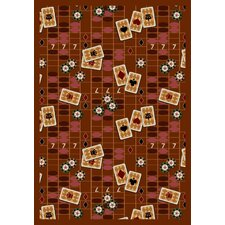 Gaming and Entertainment Feeling Lucky Rust Novelty Rug
