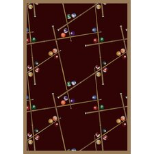 Gaming and Entertainment Snookered Burgundy Novelty Rug