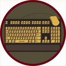 Educational Keyboard Connection Brown/Yellow Area Rug