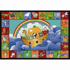 <strong>Joy Carpets</strong> Educational Faith Based Noah's Alphabet Animals Kids Rug