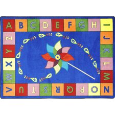Educational Alphabet Pinwheel Kids Rug