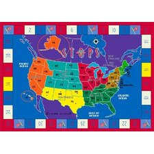Educational STOPS Trivia Game Area Rug