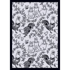 Nature Feathers and Fur Black Kids Rug
