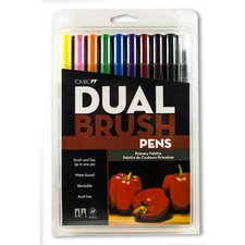 Dual Brush Pen Marker Set - 10 Primary Colors