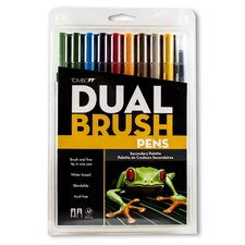Dual Brush Pen Marker Set - 10 Secondary Colors