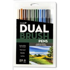 Dual Brush Pen Marker Set - 10 Landscape Colors