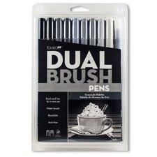 10 Piece Gray Scale Dual Brush Pen Set