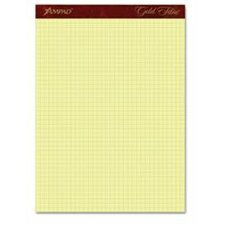 "Gold Fibre Canary Quadrille Pad, 8-1/2"" x 11-3/4"", Canary, 4 squares/inch, 50 Sheets"