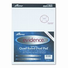 Evidence Quad Dual-Pad, Quadrille Rule, Letter, 100-Sheet Pad