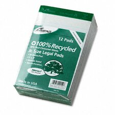 Perforated Recycled Pads, Jr. Legal Rule, 5 x 8, White, 50 Sheets, 12-Pack