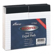 <strong>AMPAD Corporation</strong> Evidence Perforated Top, Narrow/Red Margin Rule, 3 x 5, White, 50 Sheets, 12-Pack