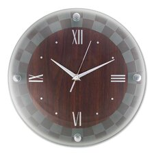 "Glass Wall Clock, 12"" Round, Woodgrain"