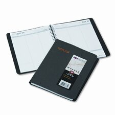 Weekly Appointment Book, Ruled/No Times, 6-3/4 x 8-3/4, Black, 2013