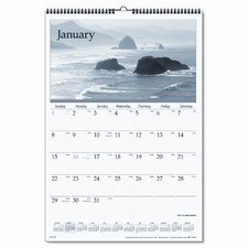 Black & White Photographic Monthly Wall Calendar, 15-1/2 x 22-3/4, 2013