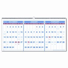 Three-Months-per-Page 15-Month Wall Calendar, Horizontal Format, 23-1/2 x 12, 2013