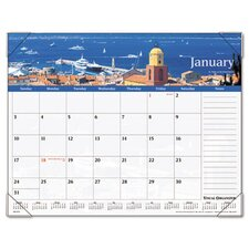 Panoramic Harbor Views Monthly Desk Pad Calendar, 22 x 17, 2013