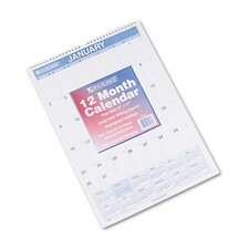 Ruled Daily Blocks Monthly Wall Calendar, January-December, 12 x 17