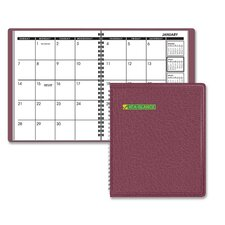 "Monthly Planner, Jan-Dec, 6-7/8""x8-3/4"", Burgundy, 2013"