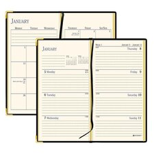"""Weekly/Monthly Pocket Diary, Jan-Dec, 2 Pages per Week, 2-7/8""""x4-7/8""""Page Size, Black, 2013"""