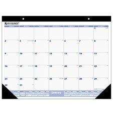 "Monthly Desk Pad Calendar, 12 Month Jan-Dec, 22""x17"", Black Binding, 2014"