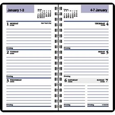 "Weekly Appointment Book, Jan-Dec, 2 Pages per Week, Wirebound, 3-1/4""x6-1/4"", Black, 2014"