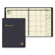 Recycled Classic Monthly Large Desk Planner, 12 Months (Jan-Dec), Black Cover, 2012