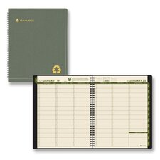 Recycled Weekly/Monthly Classic Appointment Book, 13-Mos. (Jan-Jan), Green Cover, 2012