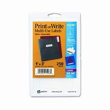 Print or Write Removable Multi-Use Labels, 250/Pack