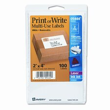 Print or Write Removable Multi-Use Labels, 100/Pack