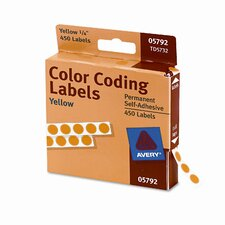 Permanent Self-Adhesive Color-Coding Labels, 450/Pack