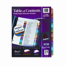Ready Index Contemporary Table of Contents Divider, 1-31, Letter