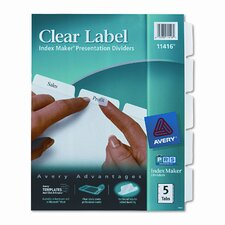 Index Maker Clear Label Dividers (5 Tabs)
